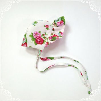 3 month 6 month floral baby bonnet baby girl sunbonnet baby shower gift new baby gift infant sun bonnet baby hat floral infant hat