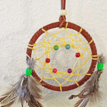 "Handmade 3"" Adorable Dream Catcher, Legend of the Dreamcatcher, Native American Indian Wall Hanging Decor, Feathers, Good Dreams"