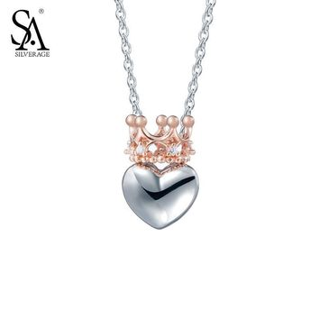 SILVERAGE Real 925 Sterling Silver Necklaces & Pendants Fine Jewelry Women Rose Gold Cubic Zirconia Crown Heart 2016 11.11 Gift