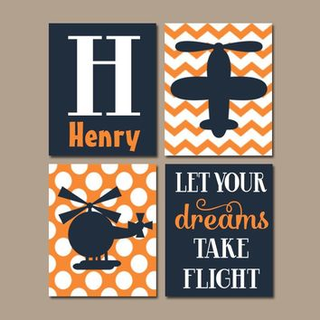 AIRPLANE Wall Art, CANVAS or Prints, Baby Boy Nursery Decor, Helicopter Aviation Theme, Big Boy Bedroom Pictures, Take Flight Set of 4