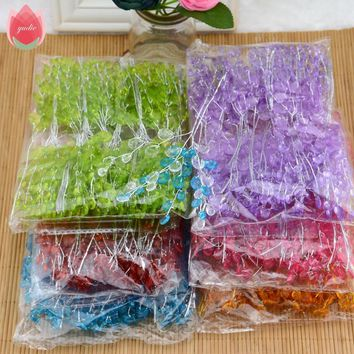 50pcs Crystal Bud Branches Artificial Flowers For Wedding Party Home Snow Decoration DIY Decorative Craft Fake Flowers