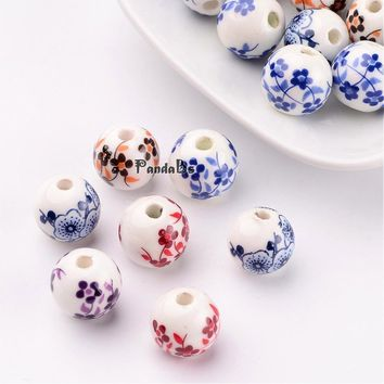 Handmade Printed Porcelain Beads, Round, Mixed Color, 12mm, Hole: 3mm