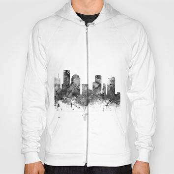 Houston Skyline Black and White Hoody by monnprint