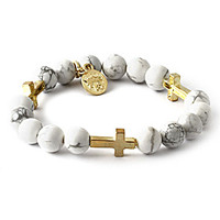 King Ice White Howlite Gold Mini Cross Gemstone Bead Bracelet