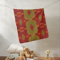 Autumn Inspired Red Gold Olive Green Abstract Receiving Blanket