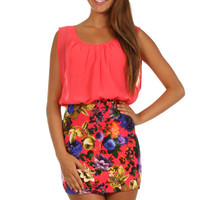 Sleeveless Dress Fitted Floral Skirt  - Coral
