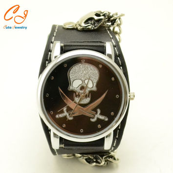 Rock And Roll Street Dance Punk Black belt Character String Bracelet Watch