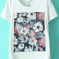 White Floral Letters Print Short Sleeve Graphic Tee