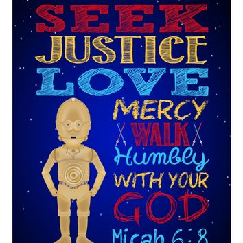 C-3PO Christian Star Wars Nursery Decor Art Print, Seek Justice Love Mercy - Micah 6:8 Bible Verse