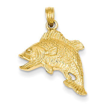14k Jumping Bass Fish Pendant K3045