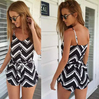 Summer Stripes Print Women's Fashion Stylish Beach Pants Romper [6315482625]