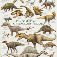Dinosaurs of the Cretaceous Period Poster 24x36