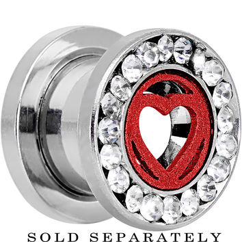 00 Gauge Stainless Steel Clear Gem Red Heart Tunnel Plug