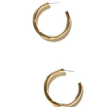 Thick Hoop Earrings Gold