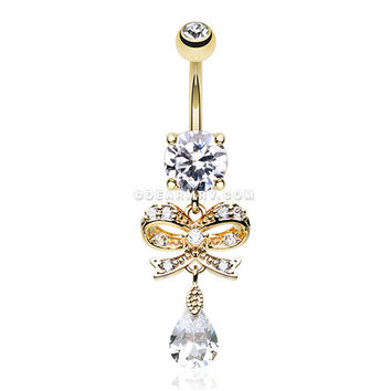 Golden Romantic Gem Bow-Tie Belly Button Ring (Clear)