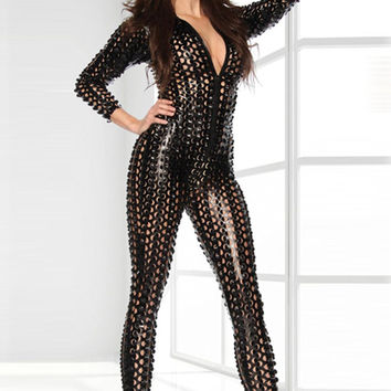 2016 3 Colors Women Gotik Locher Stripper Catsuit Women Wet Look Jumpsuit Bodysuit Sexy Vinyl Catsuit Night Wear S-2XL W7711