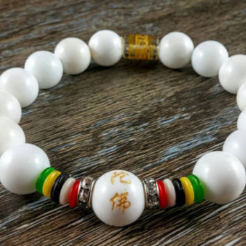 Tibetan Bracelet, White Bracelet, Womens Bracelet, Colorful Jewelery, Kanji Manra, Buddha Yoga Mala, Gift for Her, Prayer Beads, Chinese