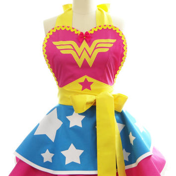 Plus Size - Retro Apron - Hot Pink Superhero Wonder Woman Apron - Vintage Apron Style - Pin up Rockabilly Cosplay