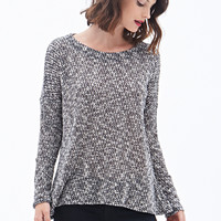 LOVE 21 Marled Open-Knit Sweater Black/Cream