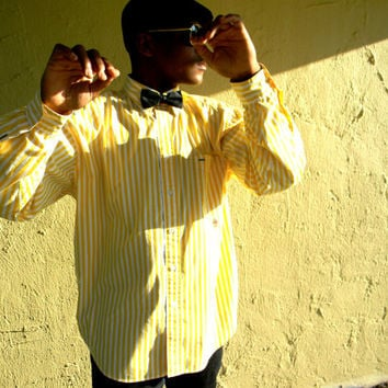 Vintage Tommy Hilfiger Shirt - 90s Long Sleeved White/Yellow Striped Mens Designer Dress Shirt - L/XL - Hip Hop/Yuppy/Preppy/Back to School