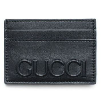 Gucci Xl Embossed Black Wallet Card Case Leather Mens Gift Xmas Italy New Box