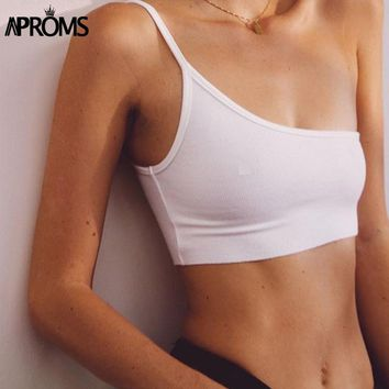 Aproms One Strap Camisole Tank Top Femal Knitted Crop Top Women Top Streetwear Elastic Short Knitting Cropped Cami 90s White Tee