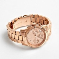 Rose Gold Chronograph Watch With Rose Dial