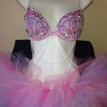 CUSTOM Pink and Purple mermaid full outfit | rave bra outfit EDC Nocturnal Ultra Beyond Wonderland