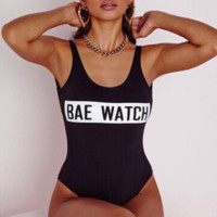 "Letters ""bae watch"" print pure color show thin one print bikini Black"