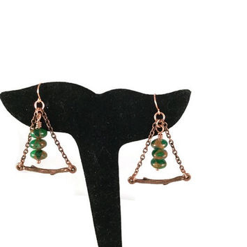 Branch earrings, triangle earrings, Jasper earrings, forest jewelry, green bead jewelry, antiqued copper jewelry, gift for her