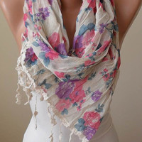 New - Gift - Beige Purple and Pink Linen Scarf with Brown Trim Edge