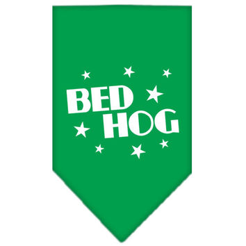 Bed Hog Screen Print Bandana Emerald Green Small