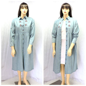 Vintage denim prairie maxi dress M / L long boho jean dress embroidered denim duster dress SunnyBohoVintage