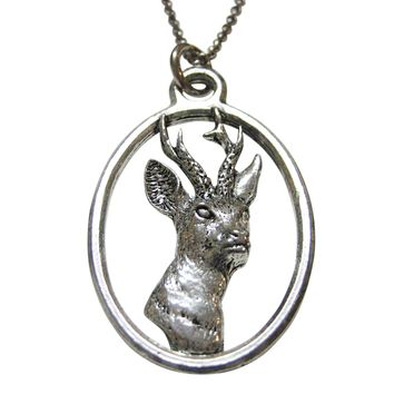 Roe Buck Deer Head Large Oval Pendant Necklace