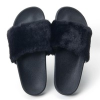 Fur Slides Slippers Flip Flops Shoes Womens Platform Slik Bow Slides Beach Sandals Zap