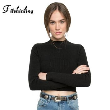 Fitshinling Half turtleneck sweater crop jumper autumn winter solid basic women sweaters and pullover casual fitness pull female
