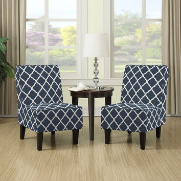 Portfolio Wylie Navy Blue Trellis Print Armless Chairs (Set of 2) | Overstock.com Shopping - The Best Deals on Living Room Chairs