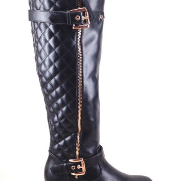 Black Wedge Boot with Quilt and Zipper Design