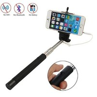 Eruner Wired Remote Control Shooting Shutter Monopod Selfie Extendable Handheld Stick for iPhone 6 plus 6 5S 5C 5 4S 4, Samsung S3 S4 S5 / S4 S5 Mini / Note 2 3 4, HTC One M7 M8, Google Nexus 4 5, LG G2, Sony Xperia Z1 Z2, Blackberry, [No Charging / No Blu