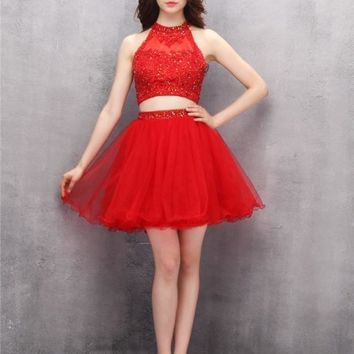 Two Piece Short Red Homecoming Dress
