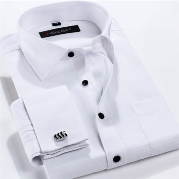 Men French Cufflinks Shirt Slim Fit Dress Shirt