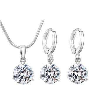 Silver Color Necklace Stud Earring Jewelry Set