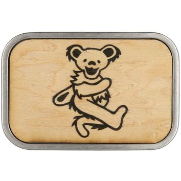 Grateful Dead - Outline Dancing Bear Wood Belt Buckle