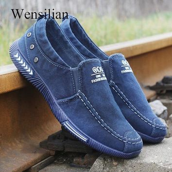 Summer Running Shoes Men Denim Canvas Shoes Slip On Loafers Men Sneakers Male Flat Shoes Driving zapatillas hombre deportiva