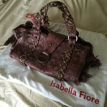 NEW Isabella Fiore Large Sydney Tote Handbag Brown Genuine Leather