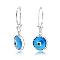 Blue Evil Eye Spiritual Drop Earrings Murano Glass Sterling Silver
