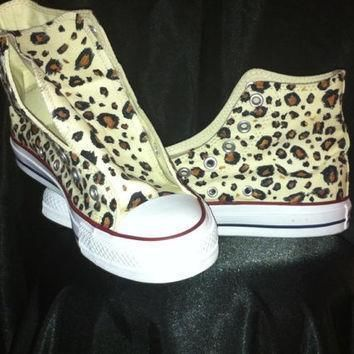 hand painted leopard print custom converse shoes animal print cheetah cow zebra tiger