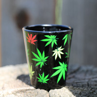 Rasta Cannabis Leaf Shot Glass