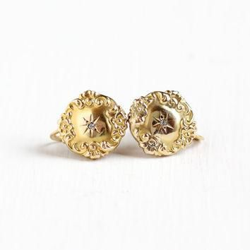 Sale - Antique Victorian 10k Yellow Gold Diamond Earrings - Vintage 1800s Edwardian Sc