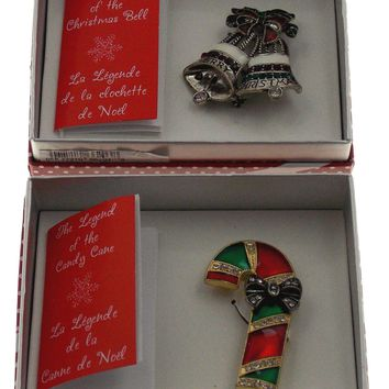 Action Alley Fashion Broach Pin Set of 2 Legend of the Christmas Bell Candy Cane